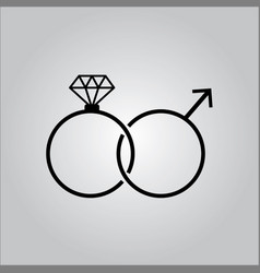 Female and male symbol - rings vector