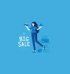 female shoe seller vector image