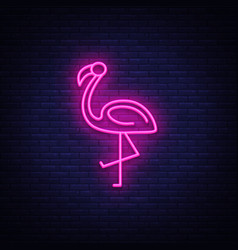 Flamingo neon sign flamingo design vector