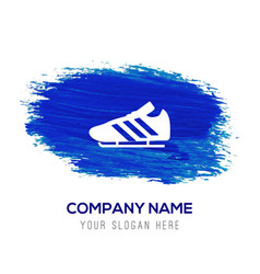 Football boot icon - blue watercolor background vector