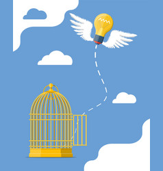 fresh bulb idea flying from bird cage vector image