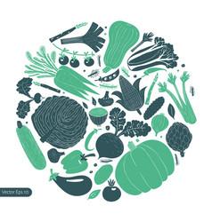 Fun hand drawn vegetables design template vector