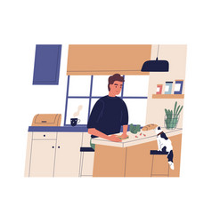 funny young man making sandwich in kitchen happy vector image