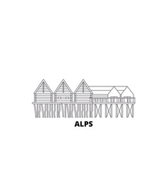 Germany alps prehistoric pile dwellings line vector
