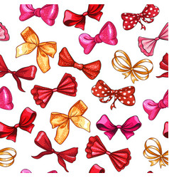 gift bows hand drawn seamless pattern vector image
