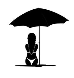 girl in bikini black silhouette vector image