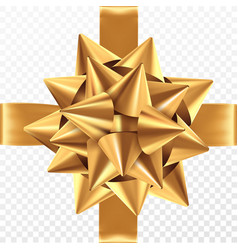 Gold gift bow on a transparent background vector