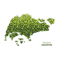 Green leaf map of singapore vector