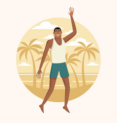 happy man at beach vector image