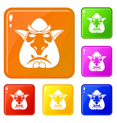 Head troll icons set color vector