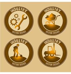 Industry seals over brown background vector