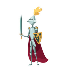 isolated medieval knight character standing vector image