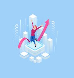 isometric business woman success leadership vector image