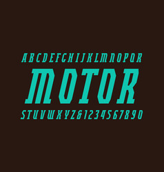 Italic narrow serif font in military style vector
