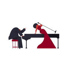 jazz band piano player and singer vector image