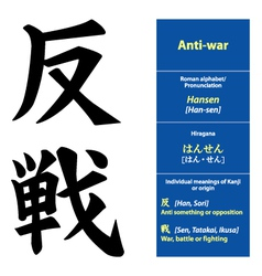 Kanji calligraphy Anti war vector image