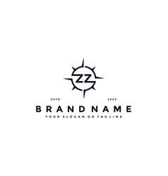 Letter zz compass logo design vector
