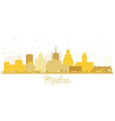 Medan indonesia city skyline silhouette vector