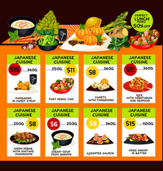 Menu of japanese cuisine restaurant vector