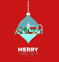 Merry christmas card winter city ornament vector