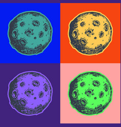 Moon with craters pop art style andy warhol style vector