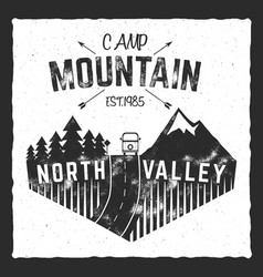 Mountain camp poster north valley sign with rv vector