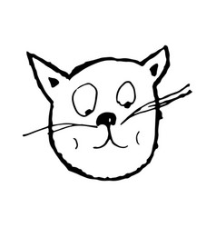 muzzle of a cat character hand-drawn graphic vector image