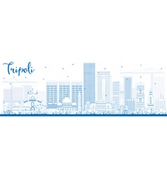 Outline Tripoli Skyline with Blue Buildings vector image