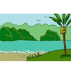 Palm trees and river vector