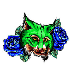 panther with roses tattoo graphic vector image