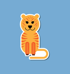 Paper sticker on stylish background cartoon tiger vector