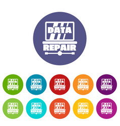 Pc data repair icons set color vector