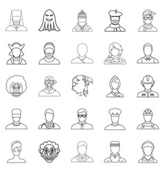 Personification icons set outline style vector