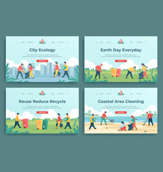 plastic recycle landing page family characters vector image