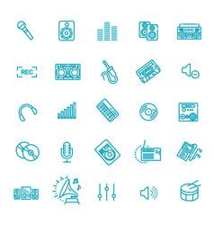 recording media icon set audio equipment vector image