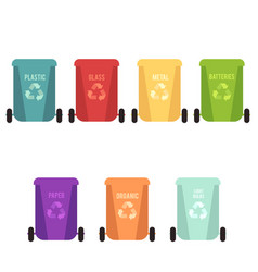 Recycle bins set and garbage types separation of vector