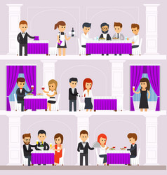 Restaurant interior with people resting people vector