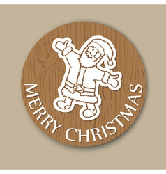Round wood christmas greeting card santa vector