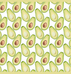 seamless pattern of avocado slice on white vector image