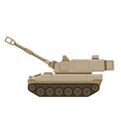 self propelled artillery isolated with road vector image