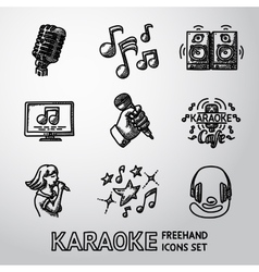 Set karaoke singing freehand icons - microphone vector