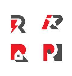 set letter r logo design collection vector image