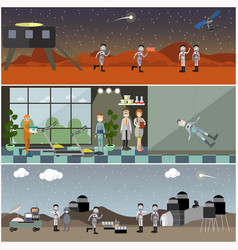 set of space posters banners in flat style vector image