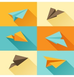 set paper planes in flat design style vector image