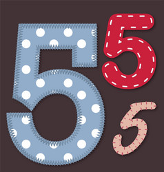set stitched font - 5 five vector image