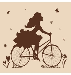 Silhouette of a girl on a bike in brown tones vector
