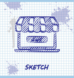 sketch line online shopping concept buy on screen vector image