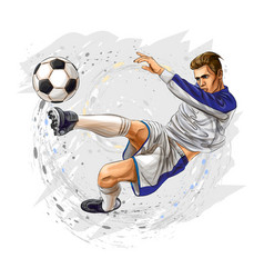 Soccer player kicks ball on a white background vector