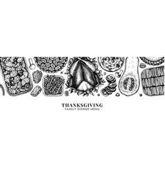 Thanksgiving food banner design with roasted vector