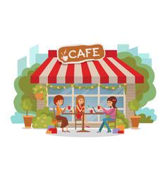 Three beautiful women talking at coffee shop vector